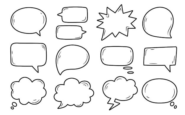 Conjunto de burbujas de discurso cómico en la ilustración de vector de fondo transparente