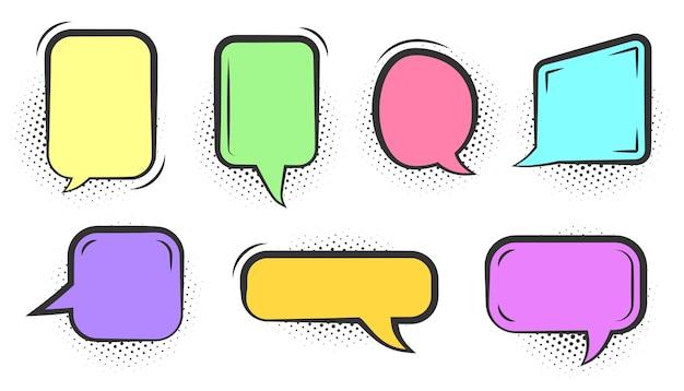 Conjunto de burbujas de discurso cómico. línea de arte pop en blanco de diferentes colores doodle burbujas. plantilla de globo de mensaje de cómics. nubes de texto vacío de dibujos animados con sombra de punto de semitono