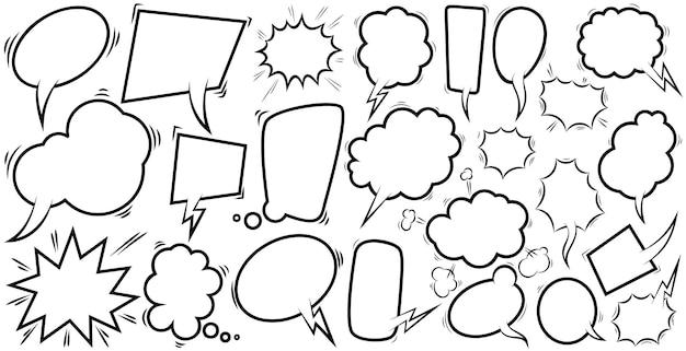 Conjunto de burbujas de discurso cómico vacías. elemento de diseño de carteles, camisetas, emblemas, letreros, etiquetas, pancartas, folletos. ilustración vectorial