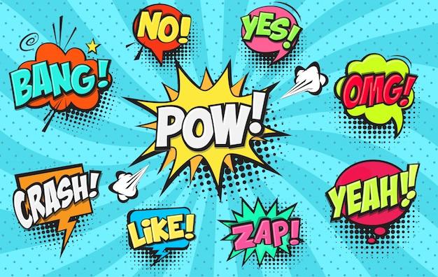 Conjunto de burbujas de discurso cómico
