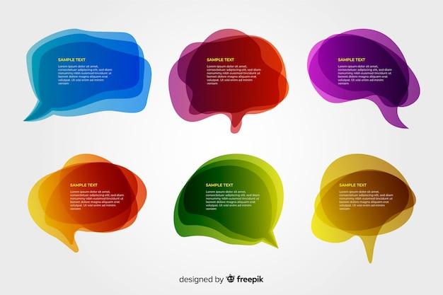 Conjunto de burbujas de discurso degradado colorido