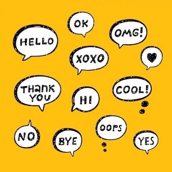 Conjunto de burbujas de discurso dibujadas a mano con frases cortas escritas a mano: sí, no, genial, gracias, adiós, ok, omg, xoxo, hola, hola, oops