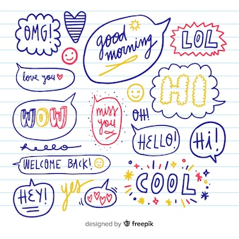 Conjunto de burbujas de discurso dibujado a mano