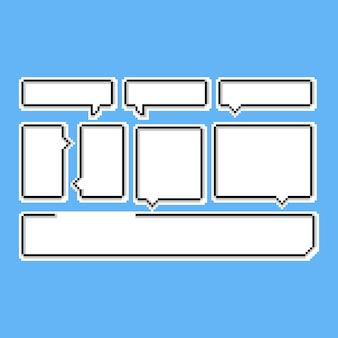 Conjunto de burbujas de discurso de dibujos animados de pixel art. conversación de 8 bits.
