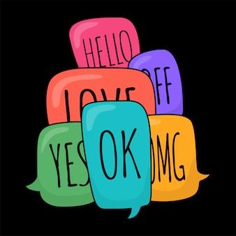 Conjunto de burbujas de discurso diferentes colores en estilo doodle con texto ok, hola, sí, no, omg, amor, bff dentro