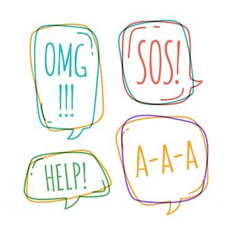 Conjunto de burbujas de discurso diferentes en estilo doodle con texto omg, ayuda, sos