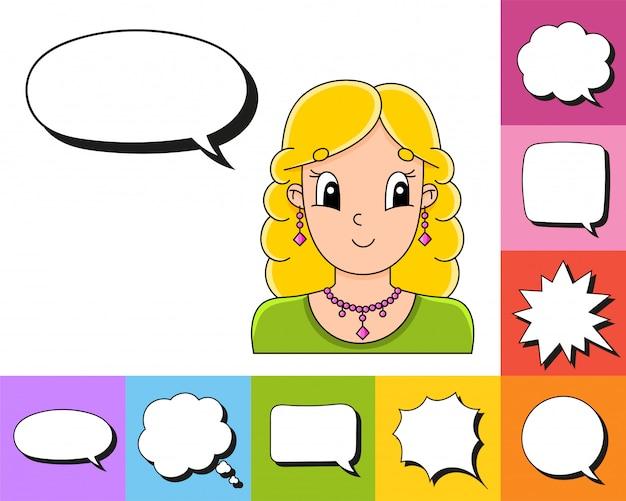 Conjunto de burbujas de discurso de diferentes formas. con un personaje de dibujos animados lindo.