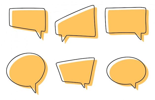 Conjunto de burbujas de discurso diferentes