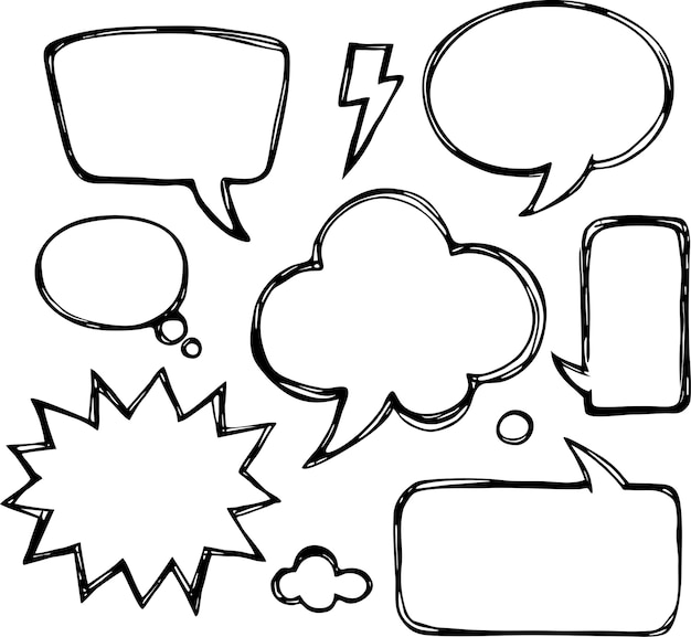 Un conjunto de burbujas de discurso y elementos cómicos