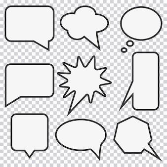 Conjunto de burbujas de discurso. elementos para el diseño de historietas. ilustración vectorial.