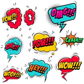Conjunto de burbujas de discurso de estilo cómico con efectos de texto de sonido. elemento para póster, tarjeta, pancarta, folleto. ilustración