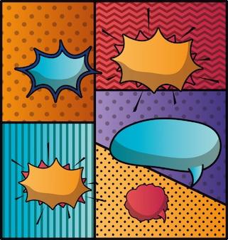 Conjunto de burbujas de discurso y expresiones fondo de arte pop