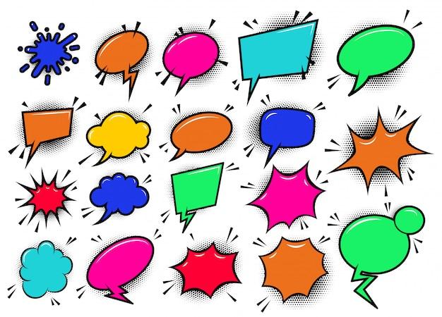 Conjunto de burbujas de discurso de historieta cómica de estilo pop art. elemento de cartel, tarjeta, banner, flyer. imagen