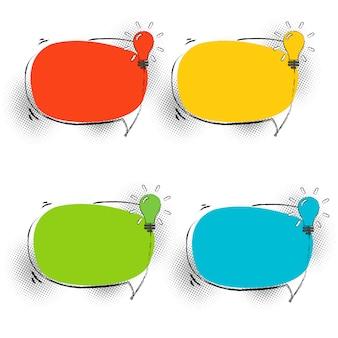 Conjunto de burbujas de discurso con lámpara