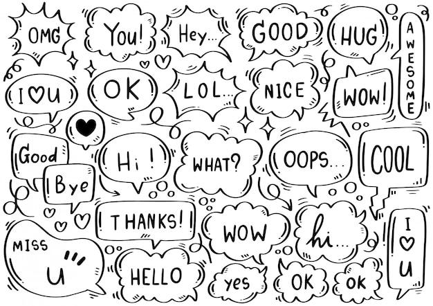 Conjunto de burbujas de discurso lindo dibujado a mano con texto en estilo doodle