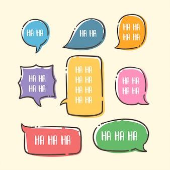 Conjunto de burbujas de discurso lindo estilo colorido dibujado a mano