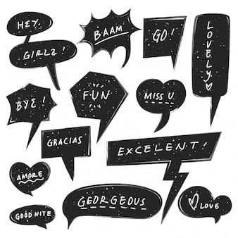 Conjunto de burbujas de discurso lindo con textura grunge