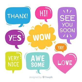 Conjunto de burbujas de discurso con mensajes cortos