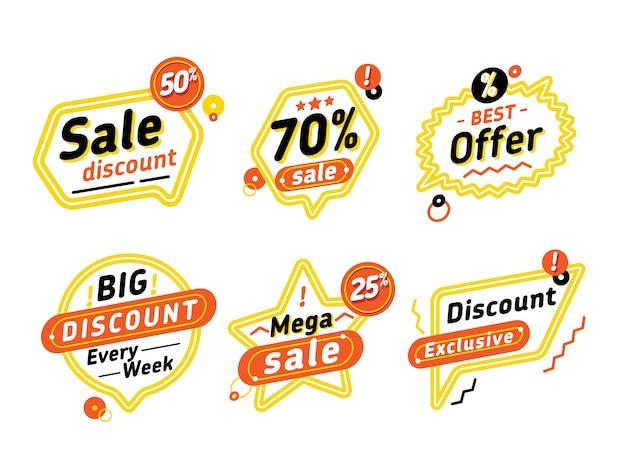 Conjunto de burbujas de discurso con ofertas de descuento