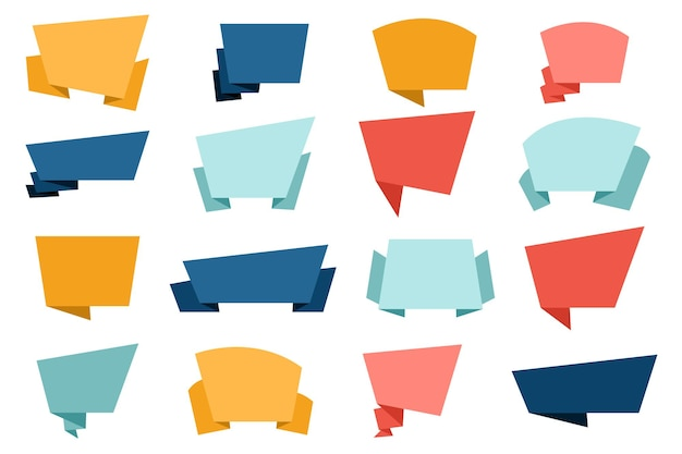 Conjunto de burbujas de discurso de papel de origami plano
