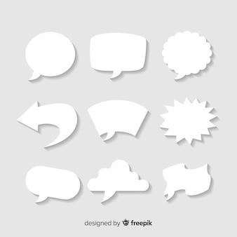 Conjunto de burbujas de discurso plano en estilo de papel