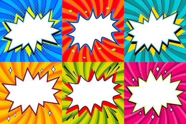 Conjunto de burbujas de discurso. plantilla de burbujas de discurso en blanco estilo pop art para su diseño. despeje las burbujas vacías del discurso cómico de la explosión en fondos torcidos coloreados. ideal para banners web.