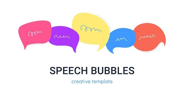 Conjunto de burbujas de discurso para redes sociales como ilustración de vector de conversación de chat de cinco burbujas de discurso