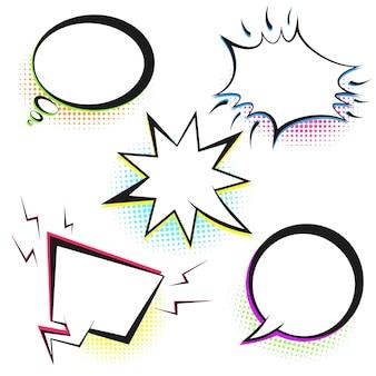Conjunto de burbujas de discurso retro blanco con semitono de color