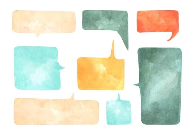 Conjunto de burbujas de discurso sobre fondo blanco. ilustración de acuarela.