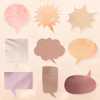 Conjunto de burbujas de discurso de sombras estéticas