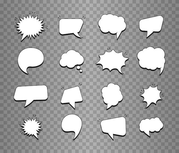 Conjunto de burbujas de discurso vacías para cómics