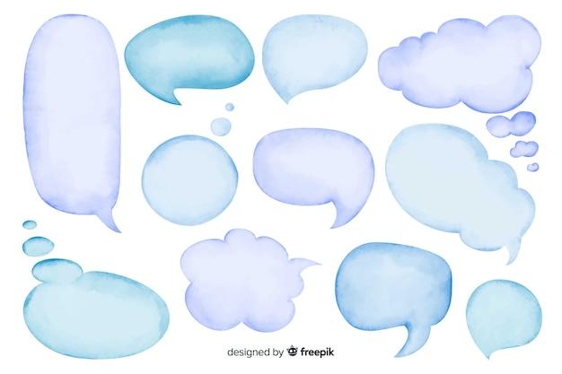 Conjunto de burbujas de discurso vacío acuarela