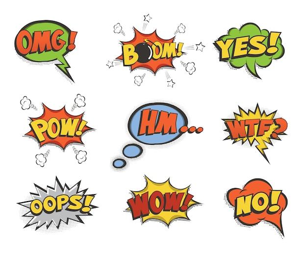 Conjunto de burbujas de discurso.