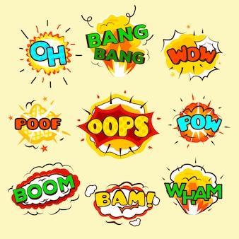 Conjunto de burbujas de explosión cómicas.