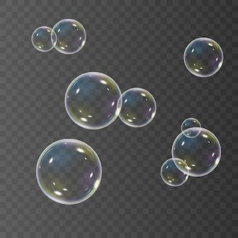 Conjunto de burbujas de jabón realistas con reflejo del arco iris