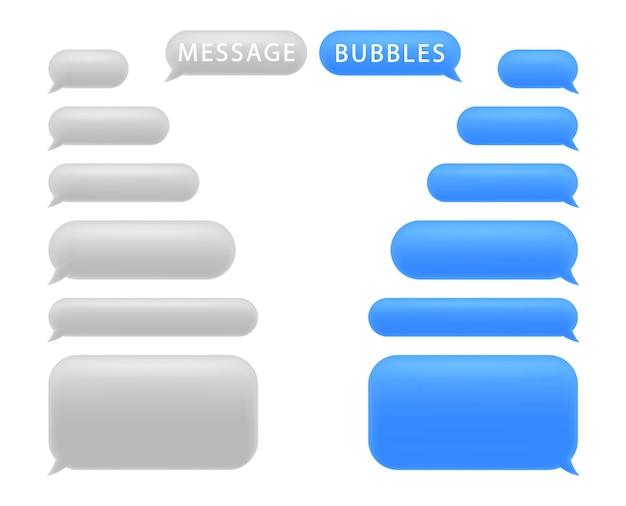 Conjunto de burbujas de mensaje. charla de burbujas de discurso.