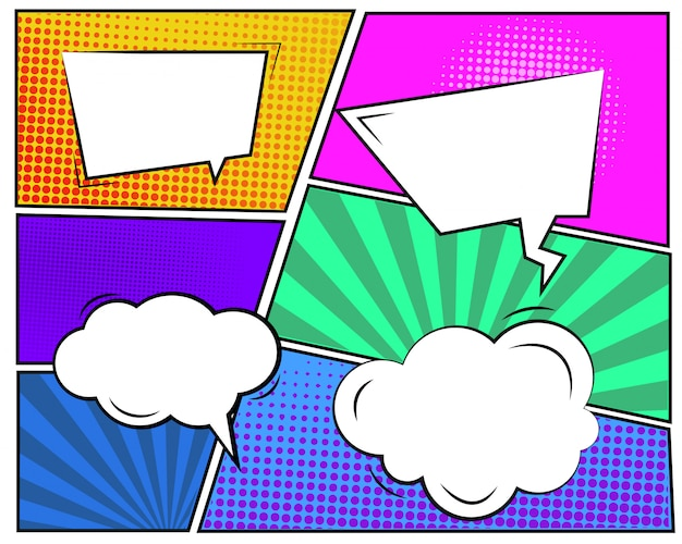 Conjunto de burbujas de nube de dibujos animados
