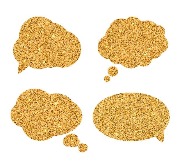 Conjunto de burbujas de oro del discurso.