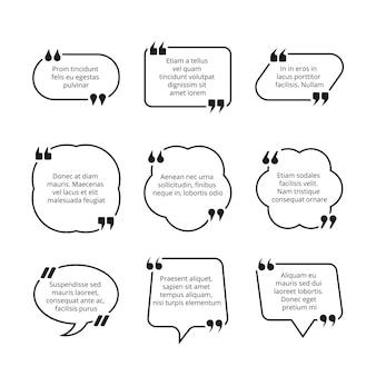 Conjunto de burbujas de texto de cita