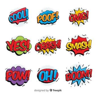 Conjunto de burbujas de texto de cómic