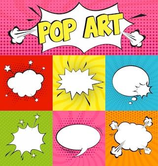 Conjunto de burbujas de texto en estilo pop art