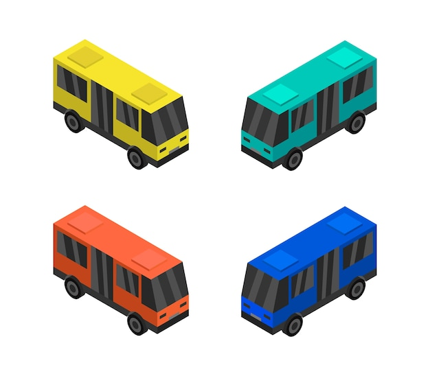 Conjunto de bus isométrico