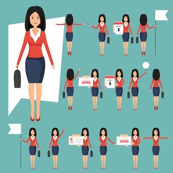 Conjunto de businesswomans en diferentes posiciones ilustración en estilo plano