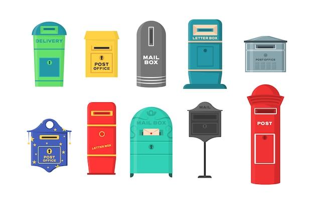 Conjunto de buzones, buzones, pedestales para enviar y recibir cartas, correspondencia, periódicos, revistas, facturas. conjunto de buzón para sobres de entrega, paquete en estilo plano.