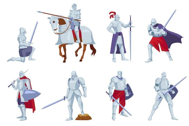 Conjunto de caballeros con armadura con armas en diferentes ángulos, poses