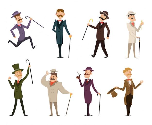 Conjunto de caballeros victorianos ingleses