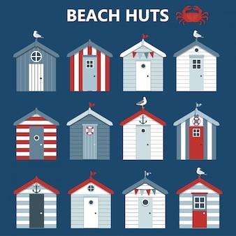 Conjunto de cabañas de playa,