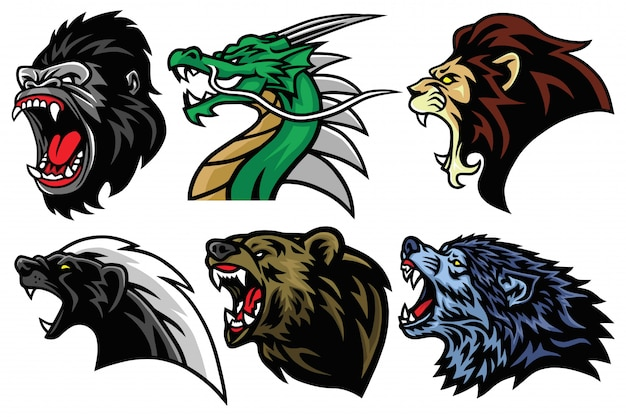 Conjunto cabeza animales salvajes icono mascota esport diseño logotipo ilustración avatar