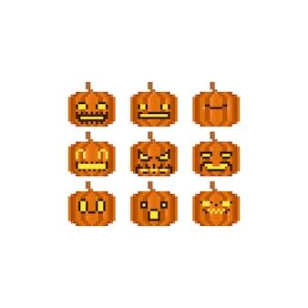 Conjunto de cabeza de calabaza de halloween pixel