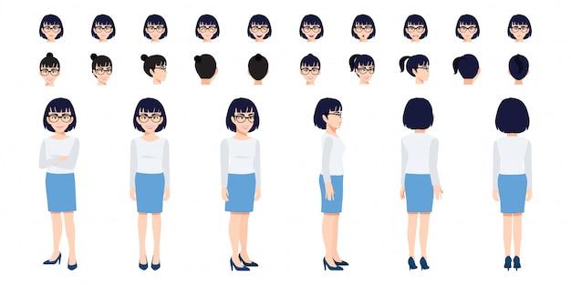 Conjunto de cabeza de personaje de dibujos animados de empresaria china y animación